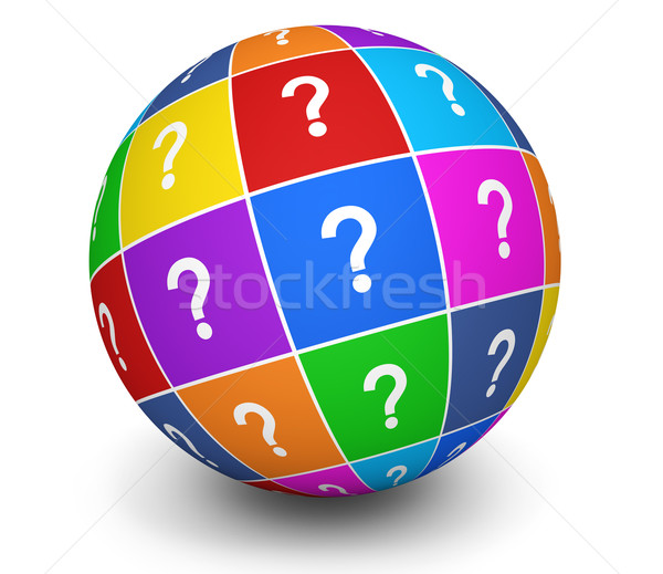 Fragezeichen Symbol Welt Symbol farbenreich 3D-Darstellung Stock foto © NiroDesign