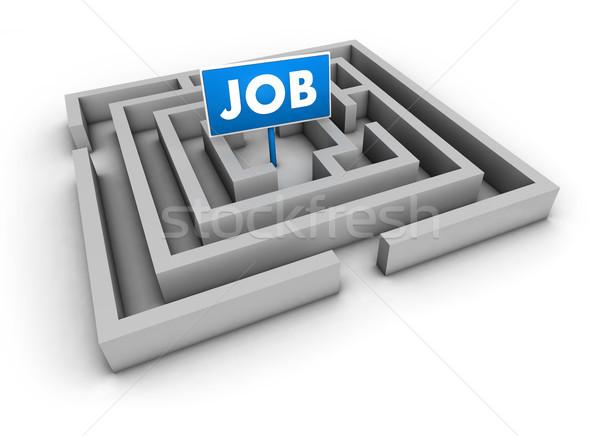 Baan labyrint Blauw doel teken witte Stockfoto © NiroDesign