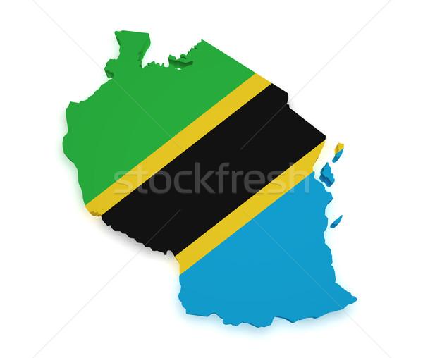 Танзания карта флаг 3D форма изолированный Сток-фото © NiroDesign