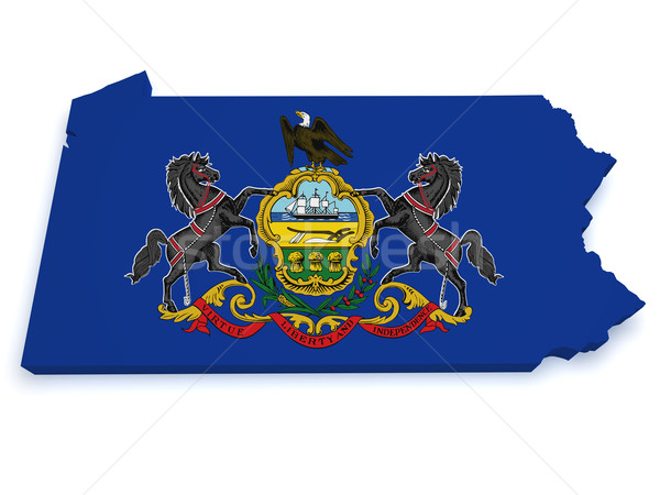 Pennsylvania Map Flag 3d Shape Stock photo © NiroDesign