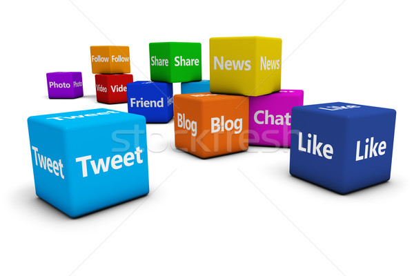 Stock photo: Web Social Media Signs On Cubes