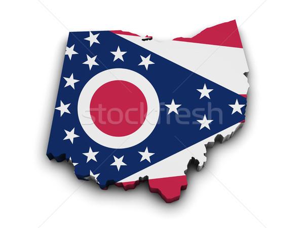 Ohio bayrak harita biçim 3D yalıtılmış Stok fotoğraf © NiroDesign