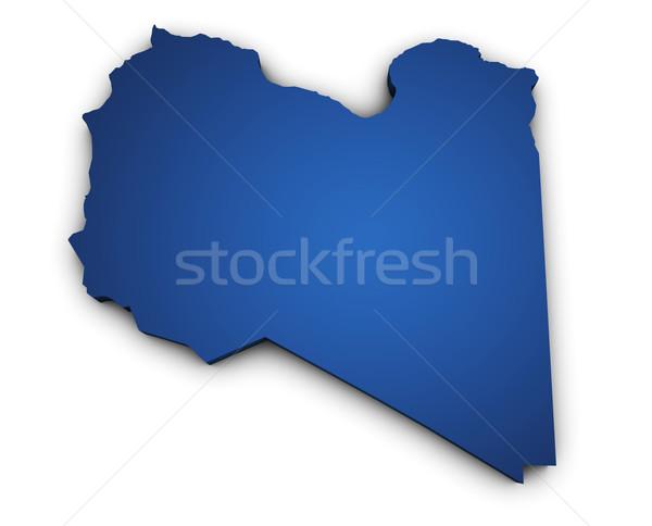 Pokaż Libia 3D kolorowy niebieski Zdjęcia stock © NiroDesign