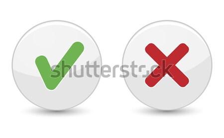 Sì no pulsante pulsanti verde verificare Foto d'archivio © NiroDesign