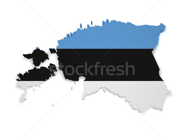 Esthonia Flag Map 3d Shape Stock photo © NiroDesign