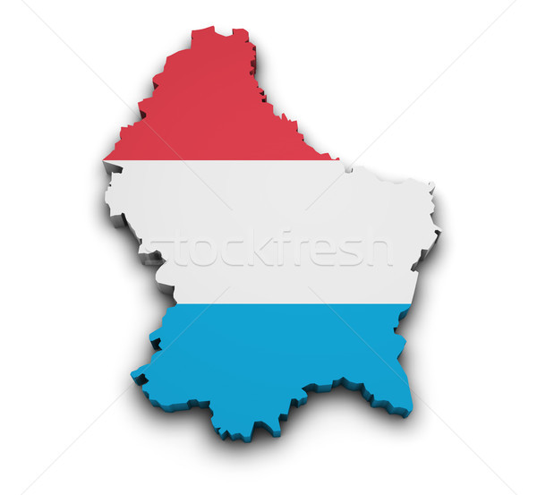Luxembourg Flag Map Shape Stock photo © NiroDesign