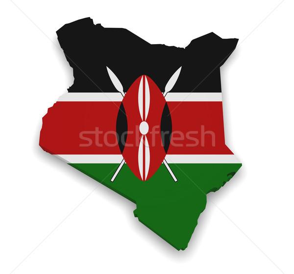 Kenia mappa bandiera 3D isolato Foto d'archivio © NiroDesign