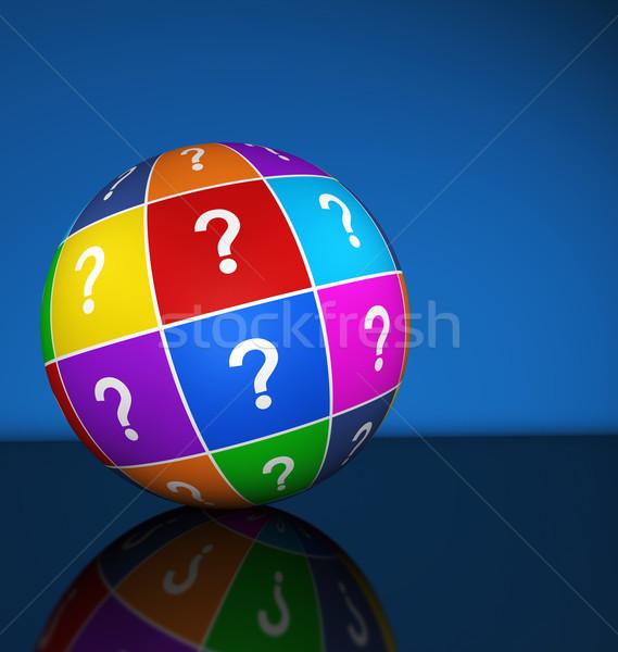 Signo de interrogación icono mundo símbolo colorido 3d Foto stock © NiroDesign