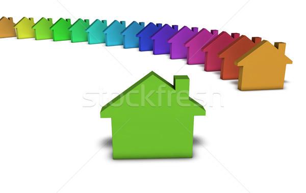 Photo stock: Vert · maison · icône · immobilier · services