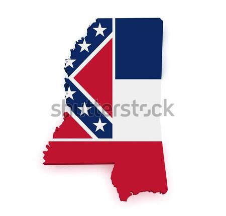 Mississippi térkép zászló 3D forma izolált Stock fotó © NiroDesign