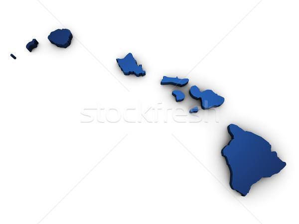 Harita Hawaii 3D biçim renkli mavi Stok fotoğraf © NiroDesign