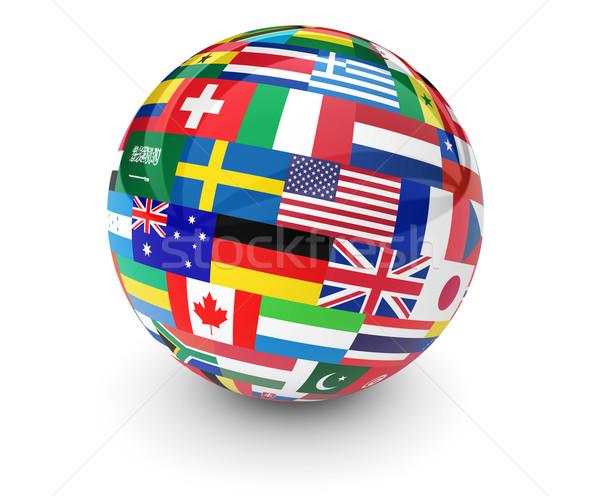 Mondo bandiere business internazionale mondo scuola viaggio Foto d'archivio © NiroDesign