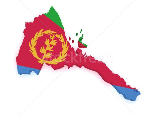 Erytrea Pokaż 3D banderą odizolowany Zdjęcia stock © NiroDesign