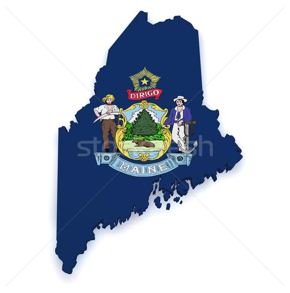 Maine kaart vlag 3D vorm geïsoleerd Stockfoto © NiroDesign