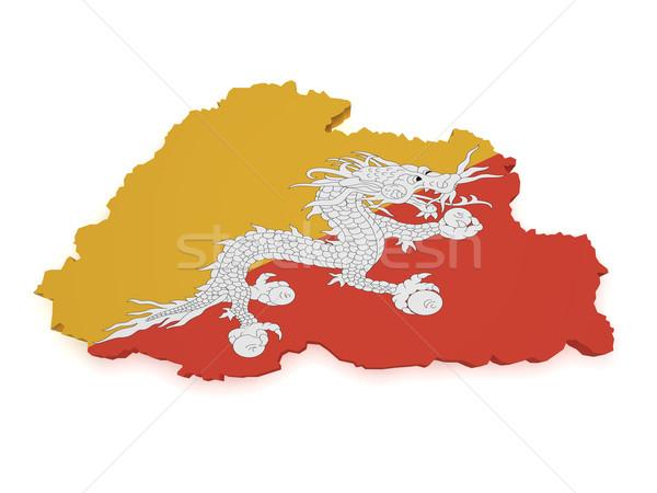 Bhutan mappa bandiera 3D isolato Foto d'archivio © NiroDesign