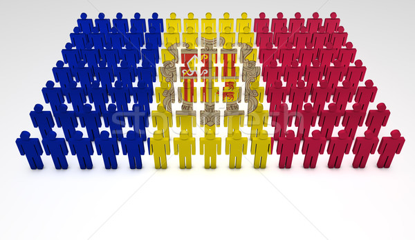 Andora banderą parada 3d osób górę widoku Zdjęcia stock © NiroDesign