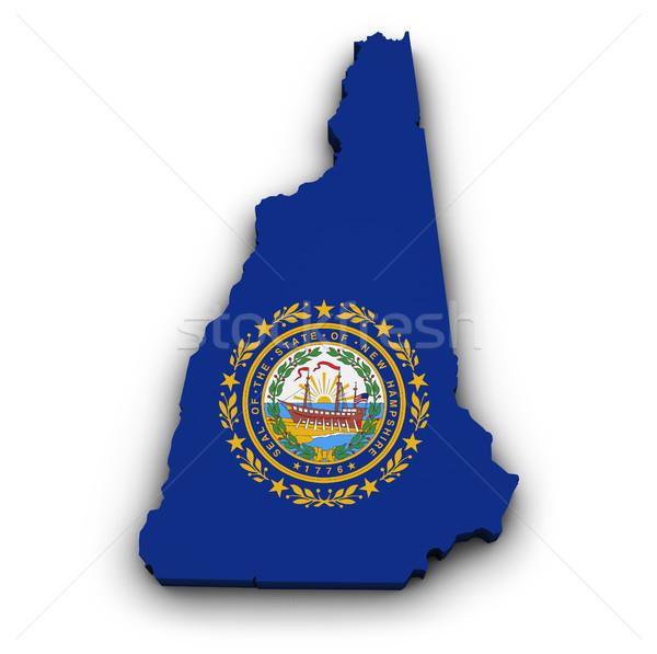 New Hampshire bayrak harita biçim 3D yalıtılmış Stok fotoğraf © NiroDesign