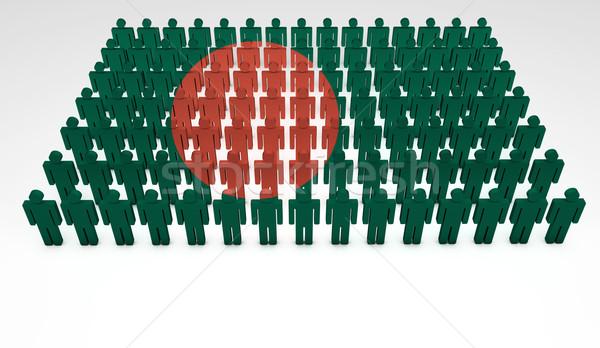 Banglades zászló parádé 3d emberek felső kilátás Stock fotó © NiroDesign