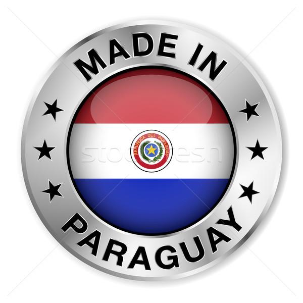 Stock fotó: Paraguay · ezüst · kitűző · ikon · központi · fényes