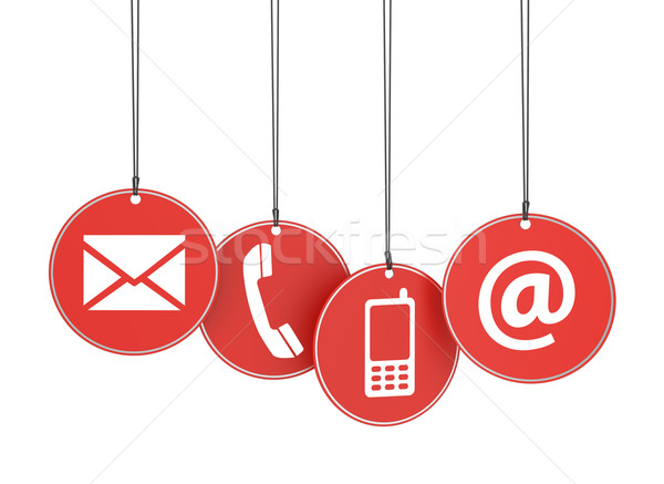 Web Contact Us Icons On Red Tags Stock photo © NiroDesign