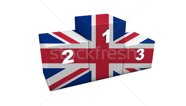 британский флаг подиум британский Top позиции 3D Сток-фото © NiroDesign