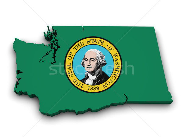 Washington kaart vlag vorm 3D geïsoleerd Stockfoto © NiroDesign