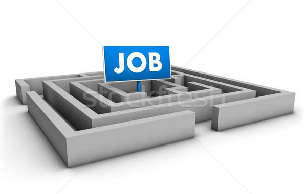 Lavoro labirinto blu obiettivo segno bianco Foto d'archivio © NiroDesign