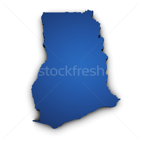 Mappa Ghana 3D colorato blu Foto d'archivio © NiroDesign