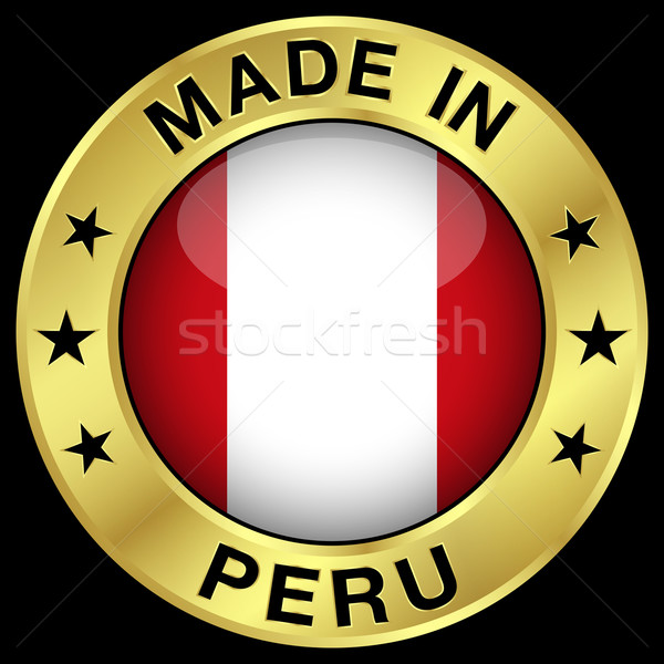 Peru ouro distintivo ícone central Foto stock © NiroDesign
