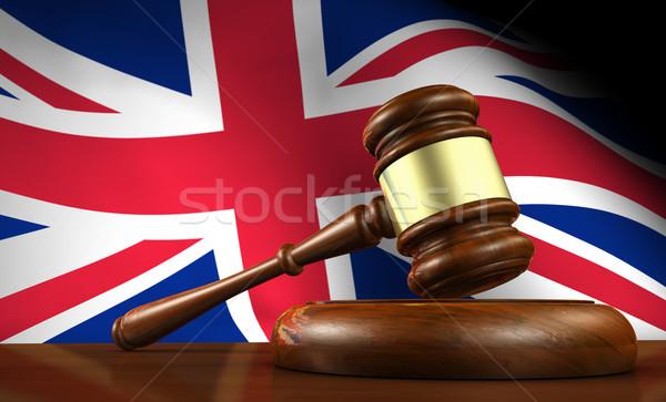 Legge giustizia rendering 3d martelletto legno desktop Foto d'archivio © NiroDesign