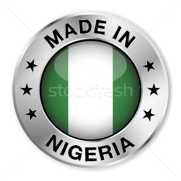Zdjęcia stock: Nigeria · srebrny · odznakę · ikona · centralny