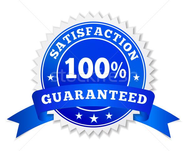 Memnuniyet garantili mavi rozet vektör etiket Stok fotoğraf © NiroDesign