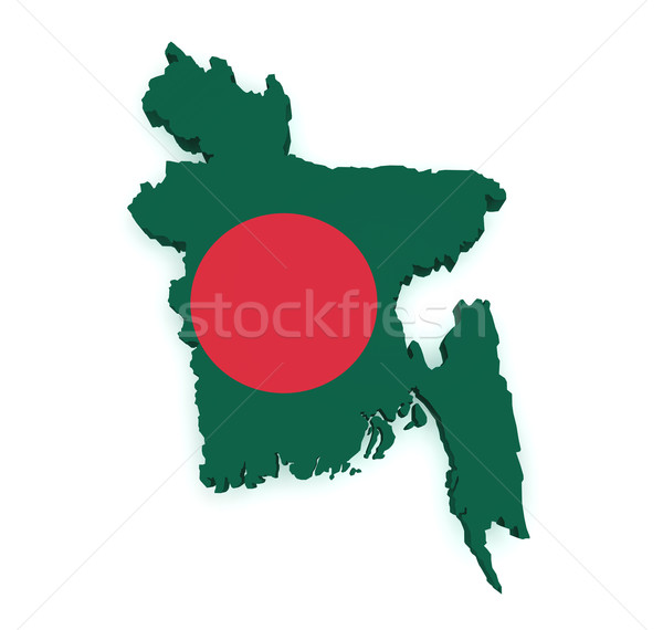 Bangladeş harita bayrak 3D biçim yalıtılmış Stok fotoğraf © NiroDesign