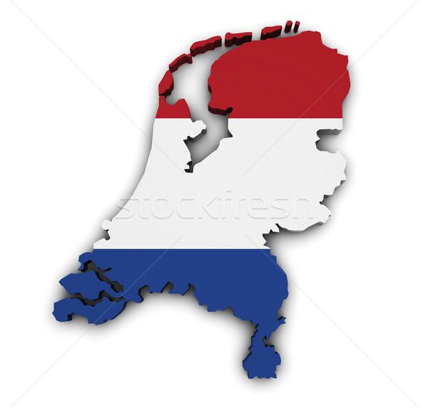 Mappa Paesi Bassi 3D bandiera isolato Foto d'archivio © NiroDesign