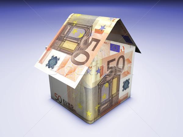 Otthon pénz ház alakú Euro bankjegyek Stock fotó © NiroDesign