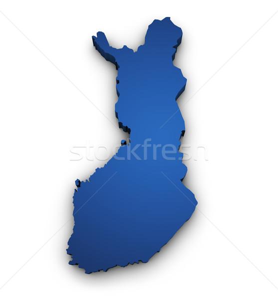 Mappa Finlandia 3D colorato blu Foto d'archivio © NiroDesign