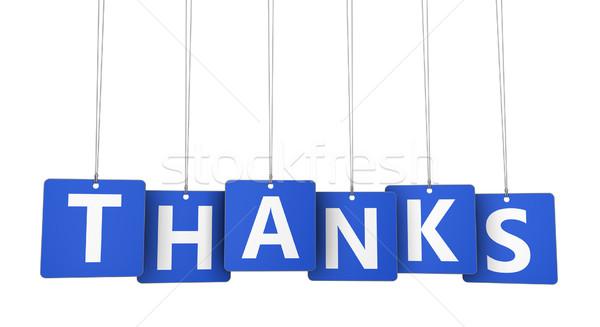 Remerciements papier signe lettres bleu Photo stock © NiroDesign