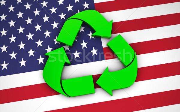 Reciclaje símbolo EUA bandera verde icono Foto stock © NiroDesign