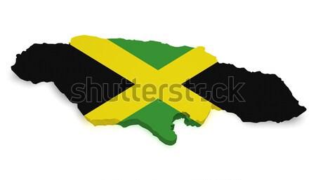 Jamaika harita bayrak 3D biçim yalıtılmış Stok fotoğraf © NiroDesign