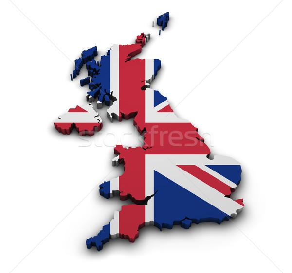 United Kingdom Flag Map Shape Stock photo © NiroDesign