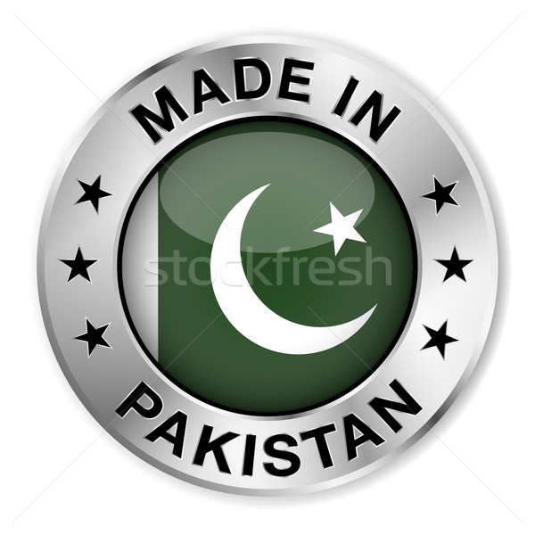 Pakistan argent badge icône central Photo stock © NiroDesign