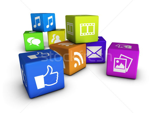 Website Social Media Würfel Internet Web-Icons farbenreich Stock foto © NiroDesign