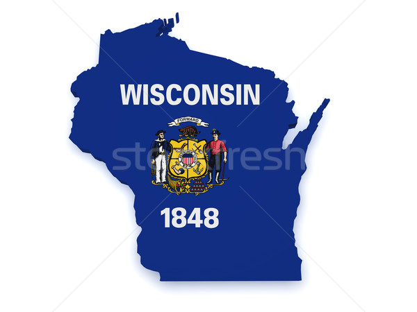 Wisconsin Map Flag 3d Shape Stock photo © NiroDesign