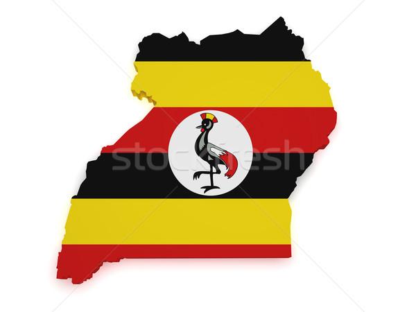 Ouganda carte pavillon 3D forme isolé Photo stock © NiroDesign