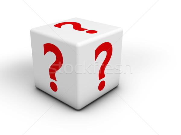 Kérdőjel piros ikon szimbólum fehér kocka Stock fotó © NiroDesign