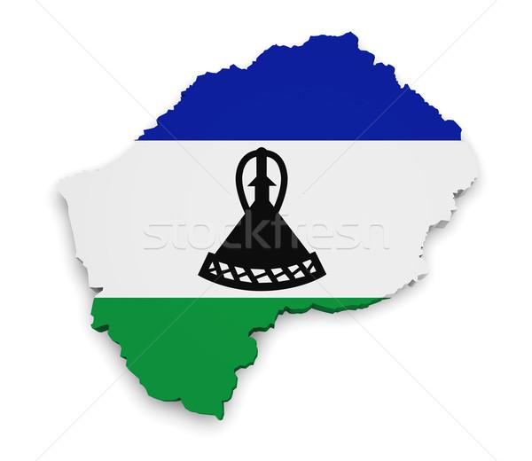 Лесото карта флаг 3D форма изолированный Сток-фото © NiroDesign