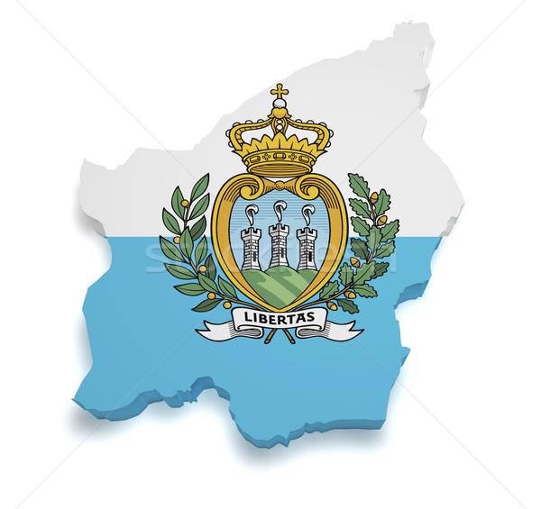 San Marino mappa bandiera 3D repubblica Foto d'archivio © NiroDesign