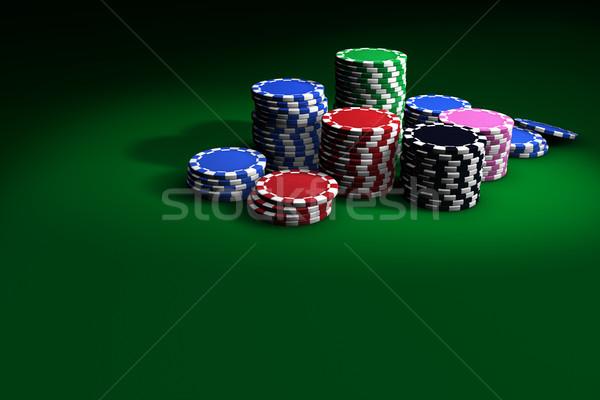Poker Chips On Green Table Stock photo © NiroDesign