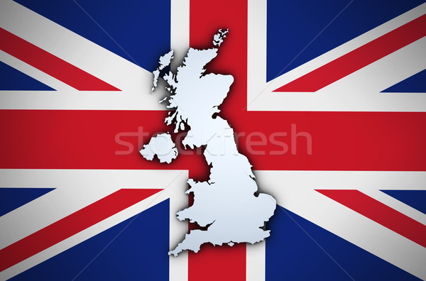 Uk Map On British Union Jack Flag Stock photo © NiroDesign