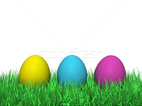 Easter eggs erba verde colorato verniciato giallo magenta Foto d'archivio © NiroDesign